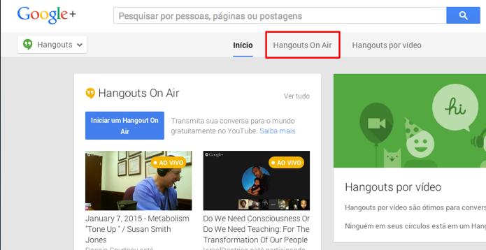 Acesse a aba do Hangouts Ao Vivo (Foto: Reprodução/Paulo Alves)