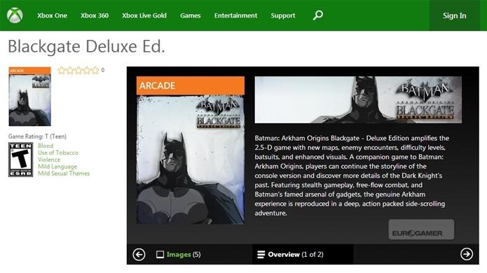 Página da Xbox Live Arcade revelou o jogo com detalhes e imagens (Foto: Eurogamer)