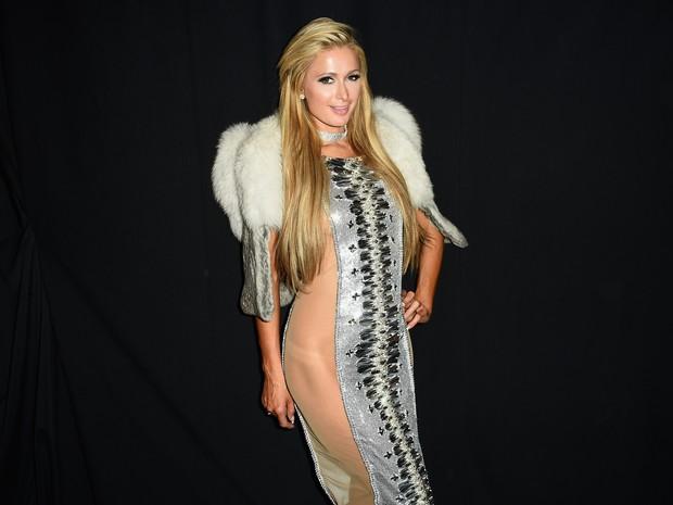 Paris Hilton em semana de moda em Nova York, nos Estados Unidos (Foto: Nicholas Hunt/ Getty Images/ AFP)