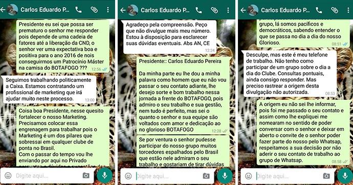 BLOG: Presidente do Botafogo é adicionado em grupo de whatsapp de torcedores e revela que seguem negociações com a Caixa