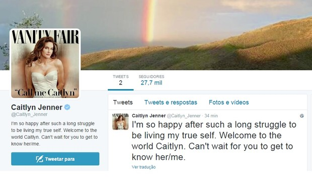 Novo Twitter de Caitlyn Jenner, ex-padrasto de Kim Kardashian (Foto: Reprodução/Twitter)