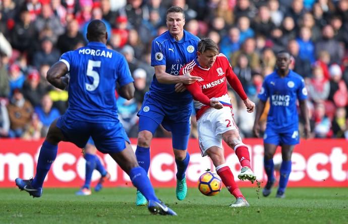 Leicester e Middlesbrough Gaston Ramirez e Robert Huth (Foto: Reuters)