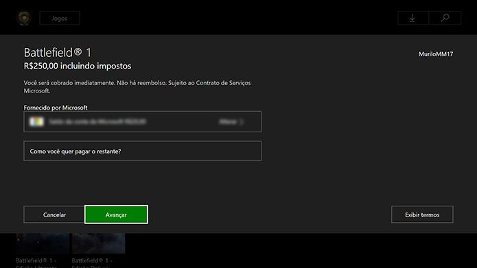 Efetue o pagamento do Battlefield 1 (Foto: Reprodução/Murilo Molina)