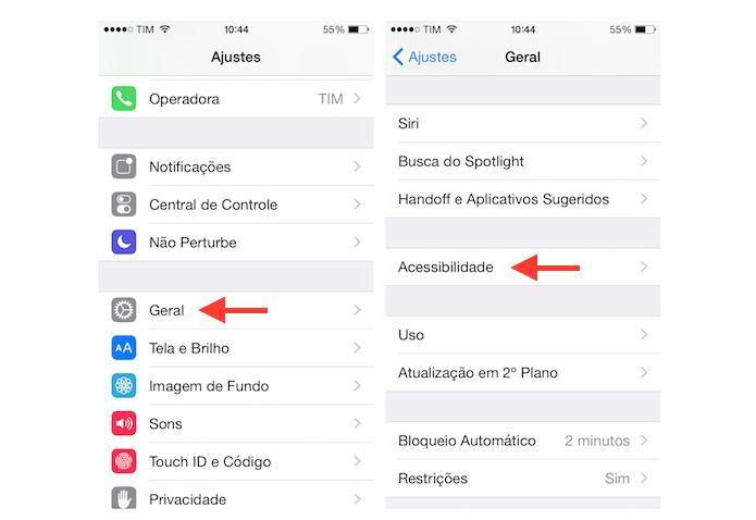 Indo até as configurações de acessibilidade do iOS (Foto: Reprodução/Marvin Costa)