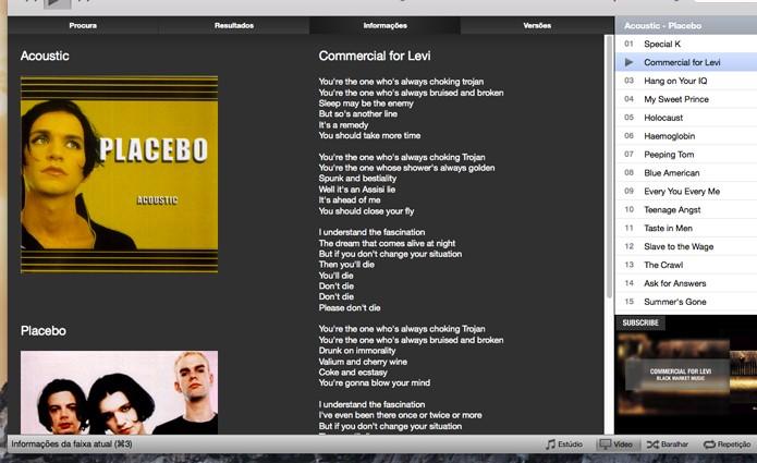 Letra da música reproduzida (Foto: Reprodução/André Sugai)