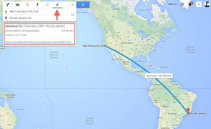 Definindo uma rota internacional no Google Maps (Foto: Reprodução/Marvin Costa)