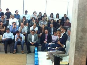Candidata do PSB à Presidência, Marina Silva participa de bate-papo com jovens empreendedores em SP. (Foto: Letícia Macedo/G1)