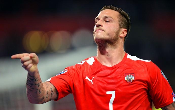 Áustria x Montenegro - Marko Arnautovic (Foto: AFP)