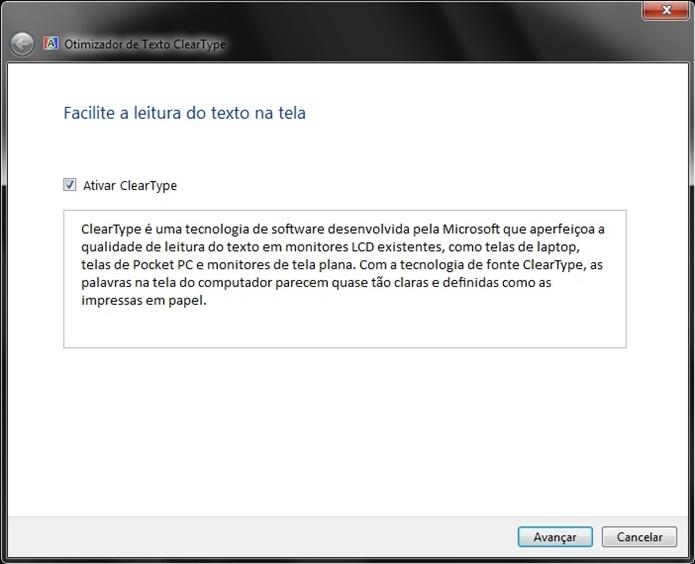 Janela Otimizador de Texto ClearType, do Windows (Foto: Reprodução/Raquel Freire)