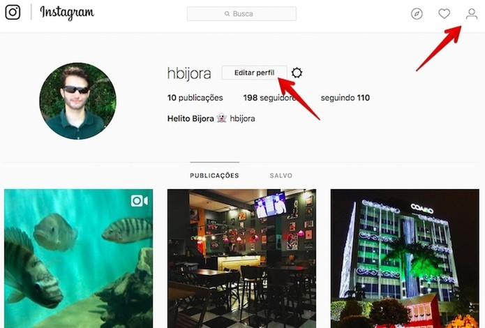 Abra o seu perfil no Instagram (Foto: Reprodução/Helito Bijora)