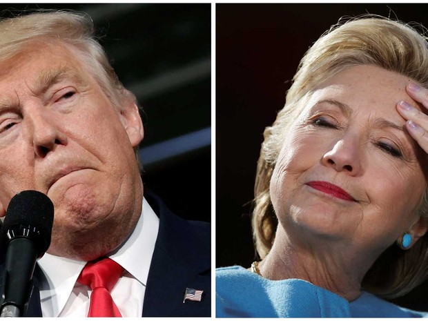 Candidato republicano, Donald Trump, e a candidata democrata, Hillary Clinton, fazem maratona no último dia de campanha antes da eleição presidencial em imagem de arquivo (Foto: Mike Segar/Carlos Barria/ Reuters)