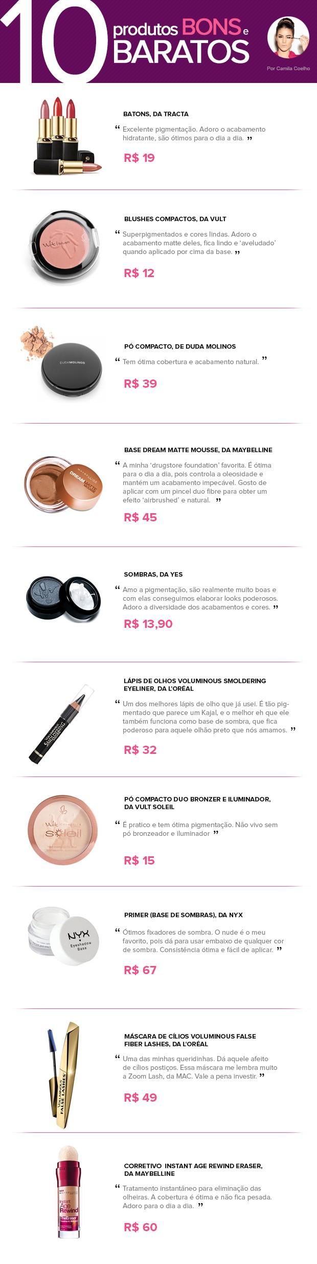 10 produtos bons e baratos - Camila Coelho (Foto: Ego)