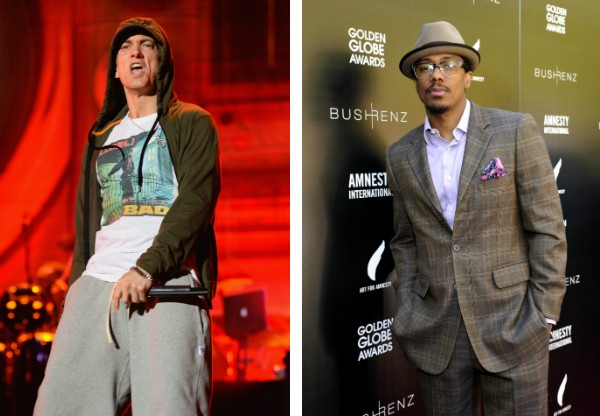 O rapper Eminem e o ator Nick Cannon (Foto: Getty Images)
