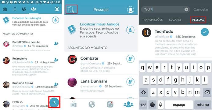 Periscope traz busca por nome de usuários nas versões para Android e iPhone (Foto: Reprodução/Elson de Souza)