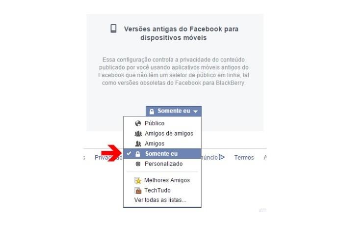 Alterando a privacidade de publicações feitas nas versões antigas do Facebook para dispositivos móveis (Foto: Reprodução/Lívia Dâmaso)