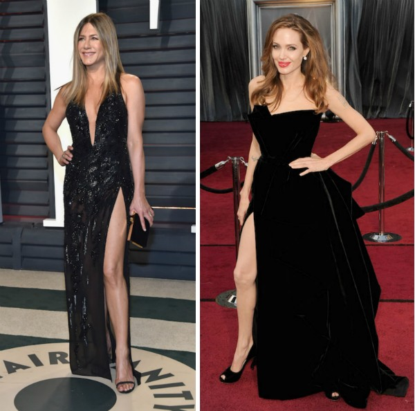 Jennifer Aniston no Oscar 2017 e Angelina Jolie no Oscar 2012 (Foto: Getty Images)