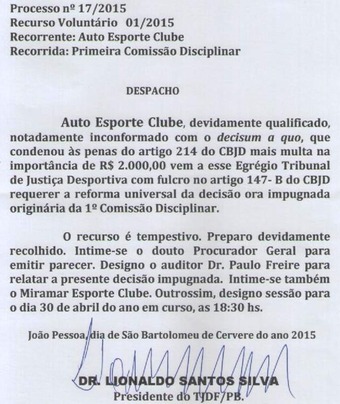 documento, tjd da paraíba, auto esporte (Foto: Reprodução / TJD-PB)