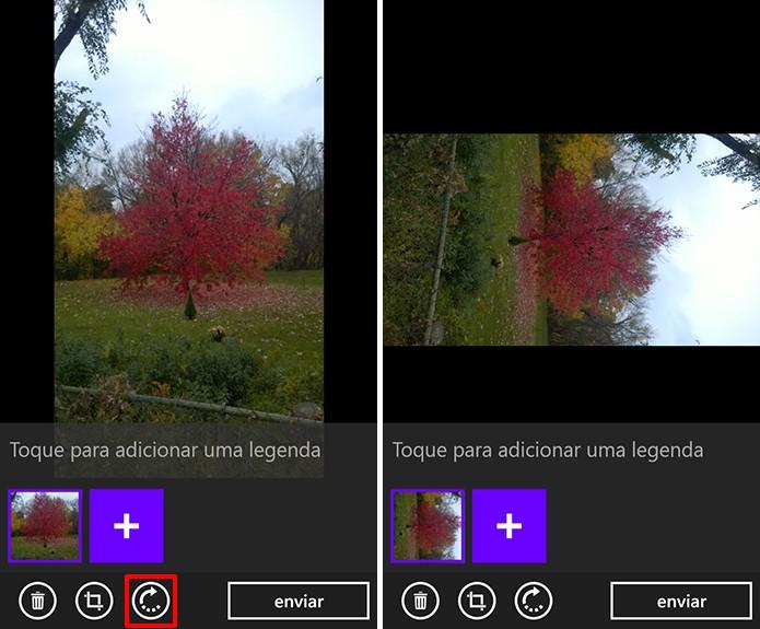 WhatsApp para Windows Phone agora permite que usuário gire uma imagem antes de enviar (Foto: Reprodução/Elson de Souza)