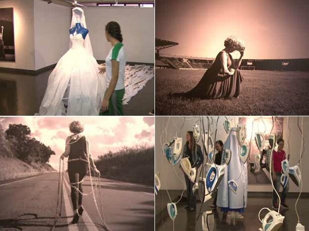 Fotos, manequins e esculturas retratram o papel das mulheres no mundo atual (Foto: Reprodução / RPCTV)