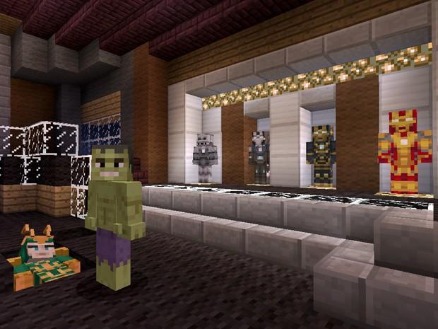 Cena de filme dos 'Vingadores' é recriada com pacote de roupas em game 'Minecraft' (Foto: Divulgação/Microsoft)