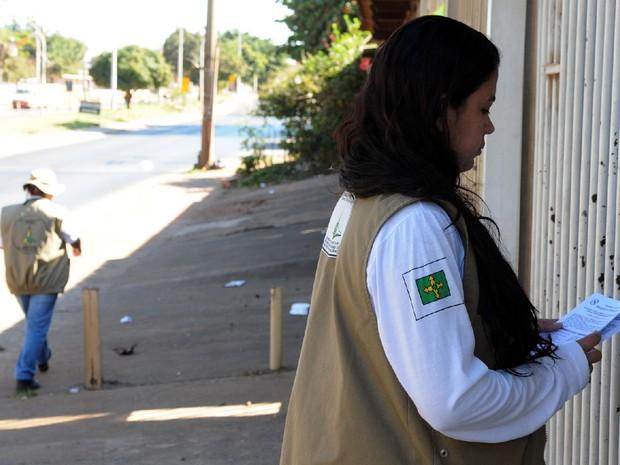 Equipe de combate ao mosquito Aedes aegypti em ação no DF (Foto: Gabriel Jabur/Agência Brasília)