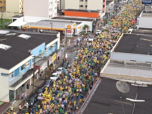 Jaraguá do Sul reuniu aproximadamente 17 mil pessoas no protesto, diz PM (Foto: PM/Divulgação)