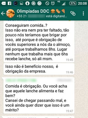 Em grupo de Whatsapp, prestadores de serviço da Man Power Group reclamam da falta de alimentação no trabalho (Foto: Reprodução/Whatsapp)