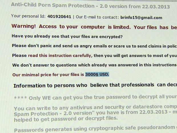 Mensagem na página da Prefeitura de Guaranésia (MG) pede um resgate de US$ 3 mil pelos dados criptografados (Foto: Reprodução EPTV)