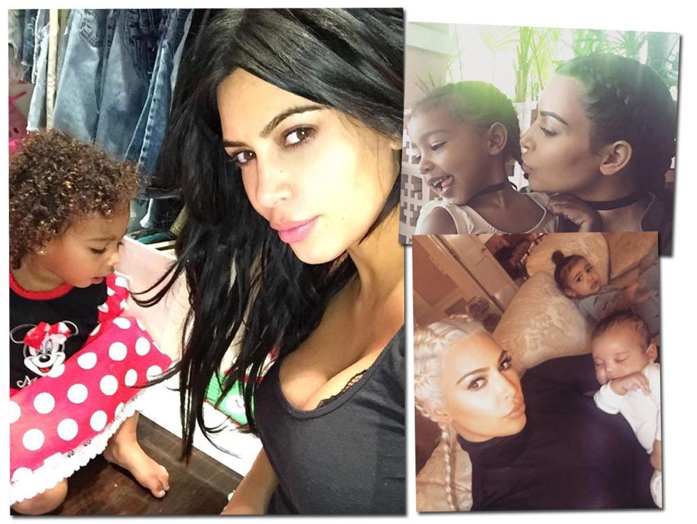 Mamãe famosa: Kim em três autorretratos com os filhos North e Saint Westm, frutos de seu casamento com Kanye West (Foto: Reprodução/Instagram)