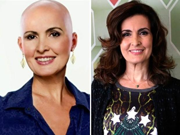 Fátima adere campanha e 'fica' careca (Foto: Encontro com Fátima Bernardes/ TV Globo)