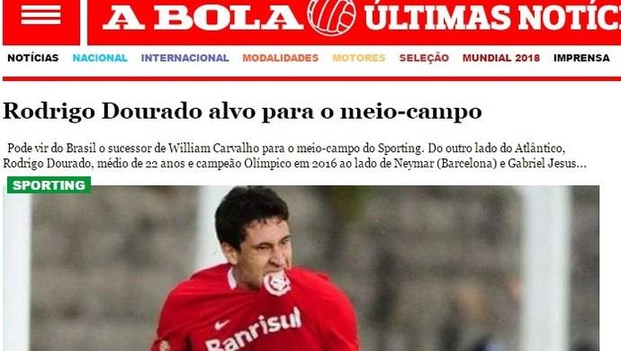 Jornal A Bola coloca Rodrigo Dourado na mira do Sporting (Foto: Reprodução)