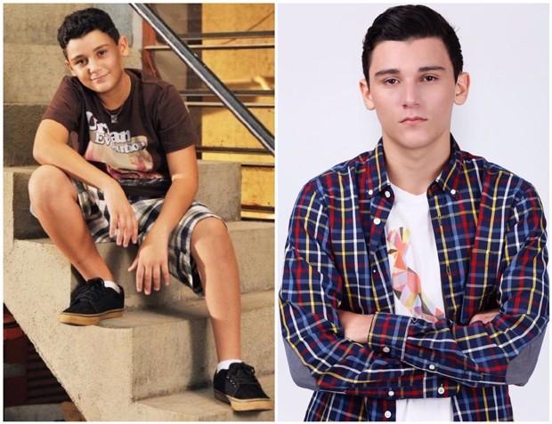 Vinícius Moreno aos 13 anos quando entrou na Grande Família e atualmente, com 18 (Foto: Arquivo Pessoal)
