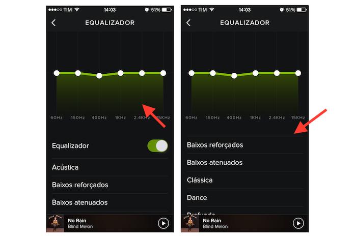 Utilizando o equalizador do Spotify no iPhone (Foto: Reprodução/Marvin Costa)