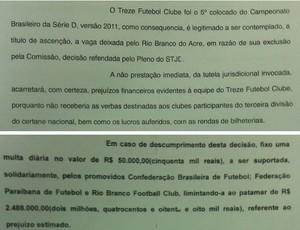 Liminar da Justiça que coloca o Treze na Série C (Foto: Montagem / Globoesporte.com/pb)