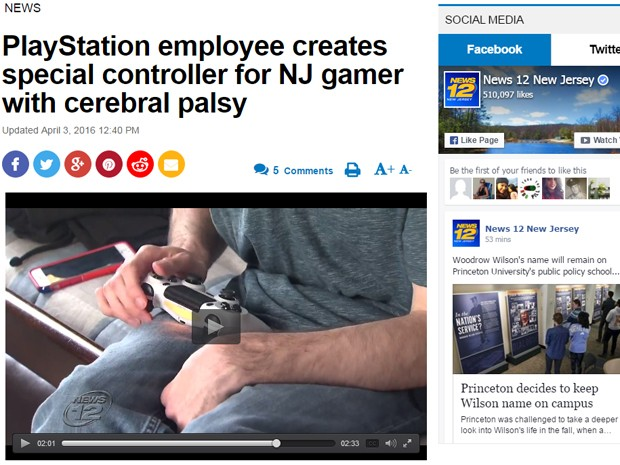 Jovem de Nova Jersey com paralisia cerebral ganhou controle personalizado para PS4 de funcionário da Sony (Foto: Reprodução/News 12 New Jersey)