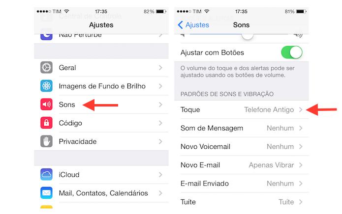 Acessando as configurações de toque do iPhone (Foto: Reprodução/Marvin Costa)