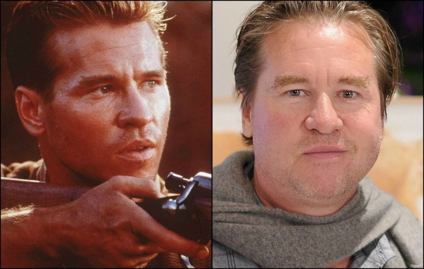 À esquerda, Val Kilmer em outubro de 1996, com 38 anos de idade. À direita, o ator atualmente, com 54 anos. (Foto: Getty Images)