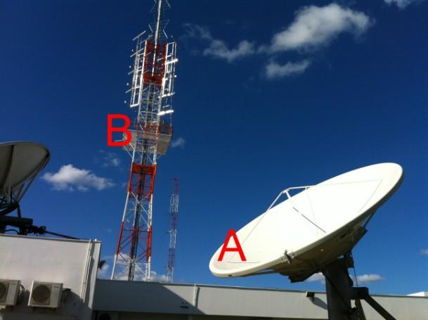 Antenas de transmissão instaladas no prédio da Inter TV Grande Minas, em Montes Claros. (Foto: Alexandre Fonseca/ Inter TV)