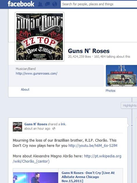 Guns N' Roses lamenta morte de Chorão (Foto: Reprodução)