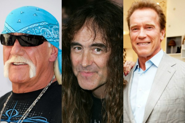 Hulk Hogan, Steve Harris e Arnold Schwarzenegger (Foto: Getty Images)