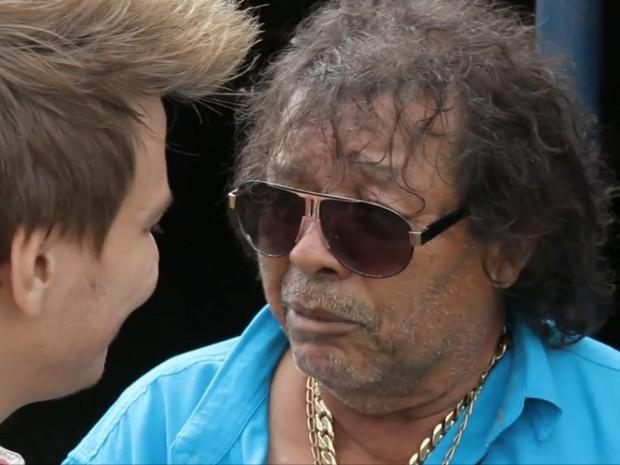 José Rico com Michel Teló no quadro 'Bem Sertanejo', do Fantástico, em outubro de 2014 (Foto: Reprodução/TV Globo)