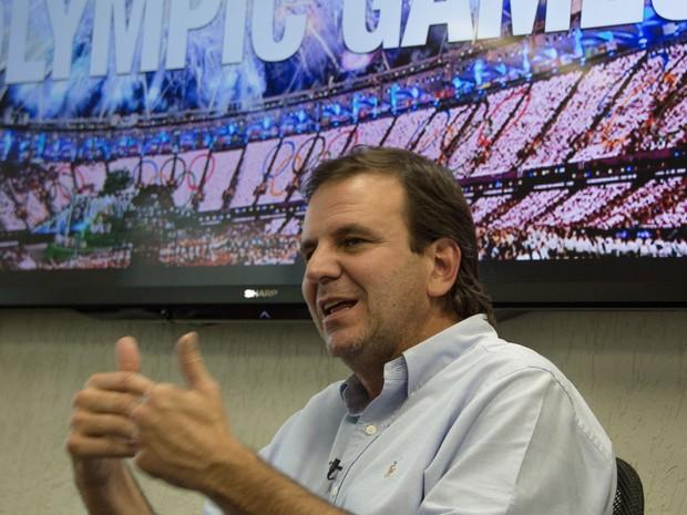 O prefeito do Rio de Janeiro, Eduardo Paes, durante entrevista à agência France Presse, na prefeitura, no dia 7 de julho (Foto: Vanderlei Almeida/AFP)