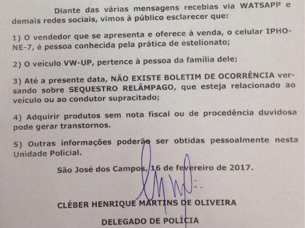 Polícia soltou comunicado sobre o caso em São José dos Campos (Foto: Reprodução/)
