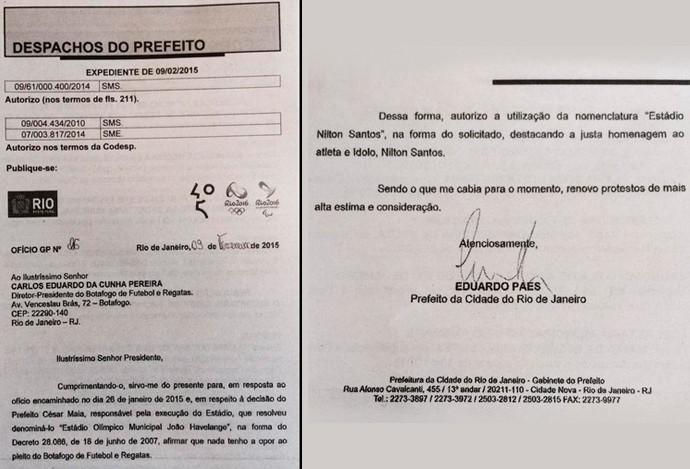 documentos engenhão nilton santos botafogo estádio (Foto: Reprodução)