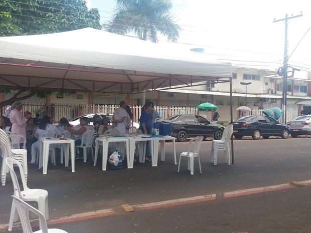 Trabalhadores, HE, saúde, ato, Macapá, Amapá, (Foto: Fabiana Figueiredo/G1)