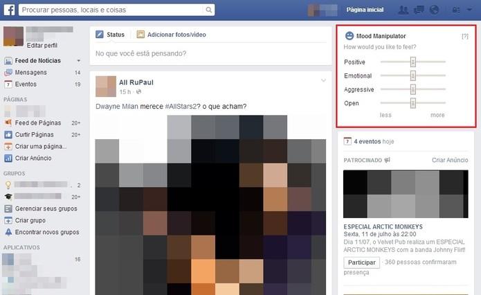 Abra o Facebook e uma janela da extensão aparecerá na barra direita da página inicial (Foto: Reprodução/Paulo Finotti)