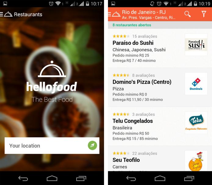 Localização de restaurantes no Hellofood  de acordo com o endereço informado (Foto: Reprodução/ Marcela Vaz)