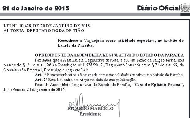 Lei foi sancionada pelo presidente da ALPB no dia 20 de janeiro e publicada no dia 21 (Foto: Reprodução/Diário Oficial)