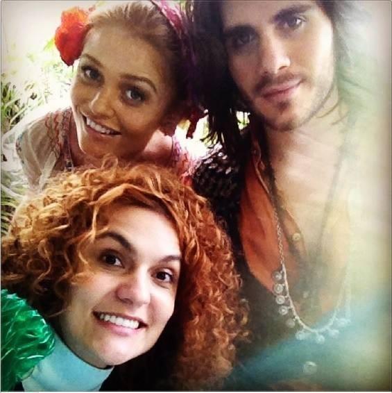 Paula, Cintia e Gabriel prontos para encarar o triângulo amoroso em cena (Foto: Acervo pessoal)