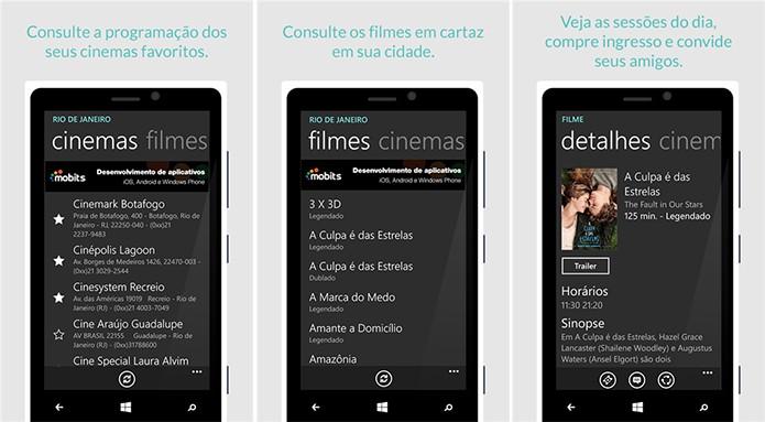 Cine Mobits traz informações completas sobre cinemas e filmes em cartaz (Foto: Divulgação/Windows Phone Store)